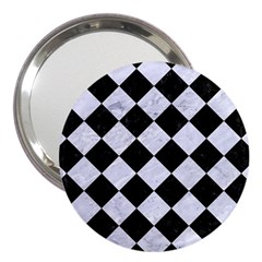 Square2 Black Marble & White Marble 3  Handbag Mirror by trendistuff