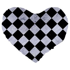 Square2 Black Marble & White Marble Large 19  Premium Flano Heart Shape Cushion by trendistuff