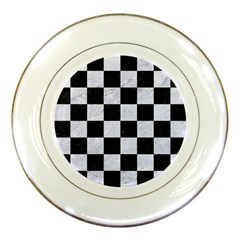 Square1 Black Marble & White Marble Porcelain Plate by trendistuff