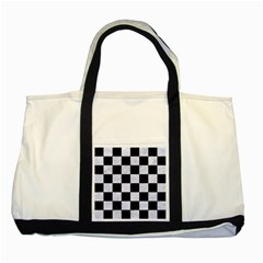 Square1 Black Marble & White Marble Two Tone Tote Bag by trendistuff