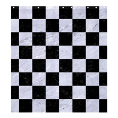 Square1 Black Marble & White Marble Shower Curtain 66  X 72  (large) by trendistuff