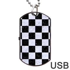 Square1 Black Marble & White Marble Dog Tag Usb Flash (two Sides) by trendistuff