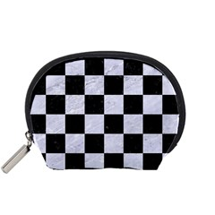 Square1 Black Marble & White Marble Accessory Pouch (small) by trendistuff
