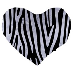 Skin4 Black Marble & White Marble (r) Large 19  Premium Flano Heart Shape Cushion by trendistuff