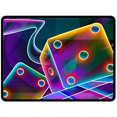 3d Cube Dice Neon Fleece Blanket (large)  by Onesevenart
