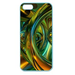 3d Transparent Glass Shapes Mixture Of Dark Yellow Green Glass Mixture Artistic Glassworks Apple Seamless Iphone 5 Case (color) by Onesevenart