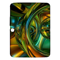 3d Transparent Glass Shapes Mixture Of Dark Yellow Green Glass Mixture Artistic Glassworks Samsung Galaxy Tab 3 (10 1 ) P5200 Hardshell Case  by Onesevenart