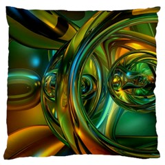 3d Transparent Glass Shapes Mixture Of Dark Yellow Green Glass Mixture Artistic Glassworks Large Flano Cushion Case (two Sides) by Onesevenart