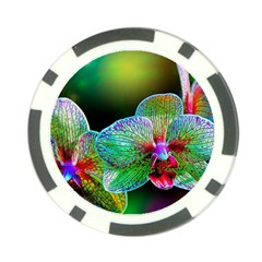 Alien Orchids Floral Art Photograph Poker Chip Card Guard by Onesevenart