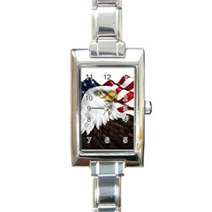 American Eagle Flag Sticker Symbol Of The Americans Rectangle Italian Charm Watch by Onesevenart