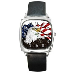 American Eagle Flag Sticker Symbol Of The Americans Square Metal Watch by Onesevenart