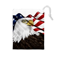 American Eagle Flag Sticker Symbol Of The Americans Drawstring Pouches (large)  by Onesevenart