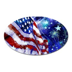 American Flag Red White Blue Fireworks Stars Independence Day Oval Magnet by Onesevenart