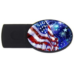 American Flag Red White Blue Fireworks Stars Independence Day Usb Flash Drive Oval (4 Gb) by Onesevenart