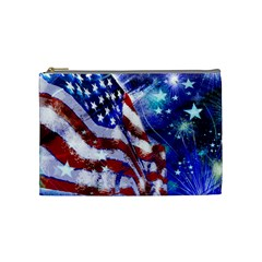 American Flag Red White Blue Fireworks Stars Independence Day Cosmetic Bag (medium)  by Onesevenart