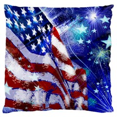 American Flag Red White Blue Fireworks Stars Independence Day Large Flano Cushion Case (two Sides) by Onesevenart