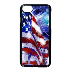 American Flag Red White Blue Fireworks Stars Independence Day Apple Iphone 7 Seamless Case (black) by Onesevenart