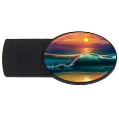 Art Sunset Beach Sea Waves Usb Flash Drive Oval (4 Gb) by Onesevenart