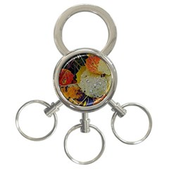 Autumn Rain Yellow Leaves 3 Ring Key Chains by Onesevenart