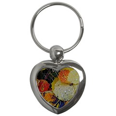 Autumn Rain Yellow Leaves Key Chains (heart)  by Onesevenart