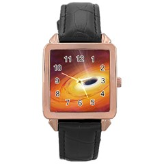 Black Hole Rose Gold Leather Watch  by Onesevenart