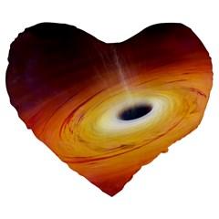 Black Hole Large 19  Premium Flano Heart Shape Cushions by Onesevenart