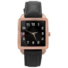 Black Light Dark Figures Rose Gold Leather Watch  by Onesevenart