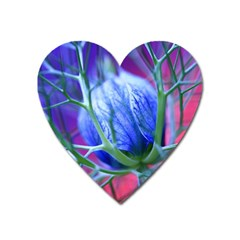 Blue Flowers With Thorns Heart Magnet by Onesevenart