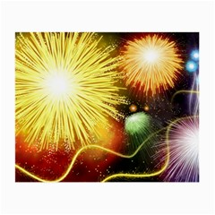 Celebration Colorful Fireworks Beautiful Small Glasses Cloth (2 Side) by Onesevenart