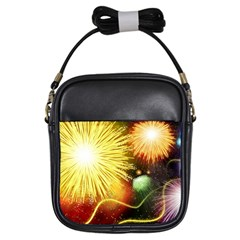 Celebration Colorful Fireworks Beautiful Girls Sling Bags by Onesevenart
