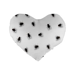 Flies Standard 16  Premium Flano Heart Shape Cushions by Valentinaart