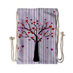 Valentine s Day Tree Drawstring Bag (small) by Valentinaart