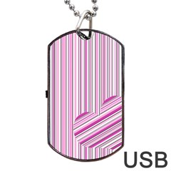 Pink Love Pattern Dog Tag Usb Flash (two Sides) by Valentinaart