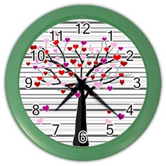Love Tree Color Wall Clocks by Valentinaart