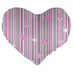 Pink Love Large 19  Premium Heart Shape Cushions by Valentinaart