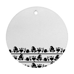 Simple Black And White Design Round Ornament (two Sides) by Valentinaart