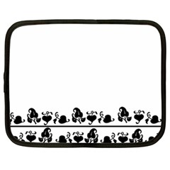 Simple Black And White Design Netbook Case (xl)  by Valentinaart