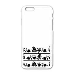 Simple Black And White Design Apple Iphone 6/6s White Enamel Case by Valentinaart