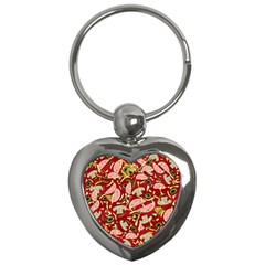 Pizza Pattern Key Chains (heart)  by Valentinaart
