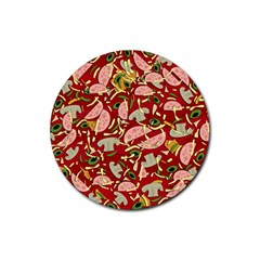 Pizza Pattern Rubber Round Coaster (4 Pack)  by Valentinaart
