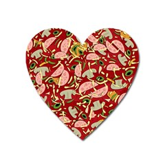 Pizza Pattern Heart Magnet by Valentinaart