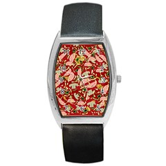 Pizza Pattern Barrel Style Metal Watch by Valentinaart