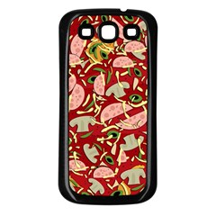 Pizza Pattern Samsung Galaxy S3 Back Case (black) by Valentinaart