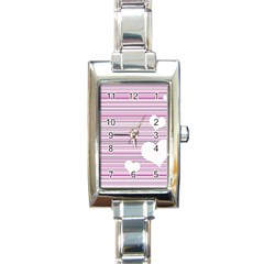 Pink Valentines Day Design Rectangle Italian Charm Watch by Valentinaart