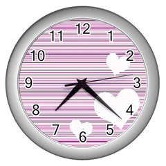 Pink Valentines Day Design Wall Clocks (silver)  by Valentinaart