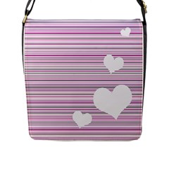 Pink Valentines Day Design Flap Messenger Bag (l)  by Valentinaart