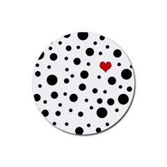 Dots And Hart Rubber Coaster (round)  by Valentinaart