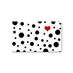 Dots And Hart Magnet (name Card) by Valentinaart