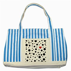 Dots And Hart Striped Blue Tote Bag by Valentinaart