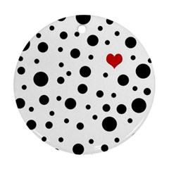 Dots And Hart Round Ornament (two Sides) by Valentinaart